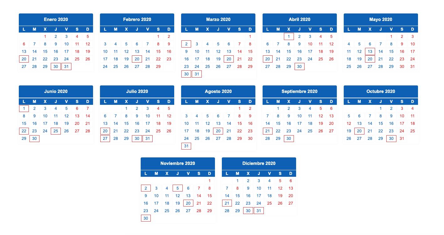 Calendario fiscal 2020 al detalle