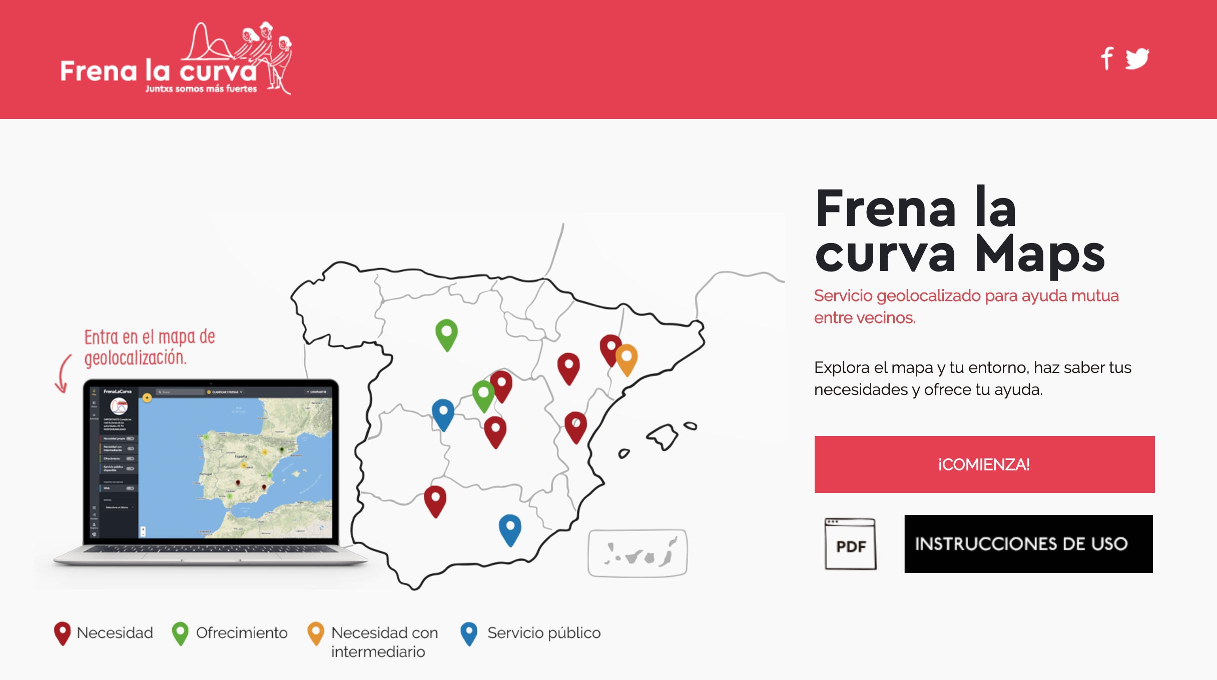 Plataforma solidaria Frenar la Curva Maps.