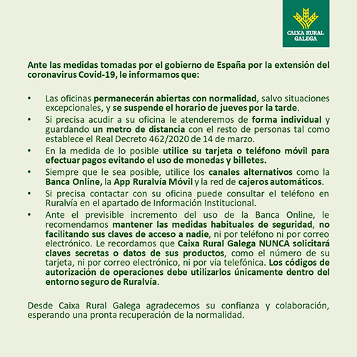 caixa rural galega coronavirus